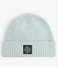 Brand-patch wool beanie hat