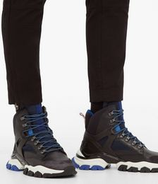 Tristan leather and mesh hiking trainers
