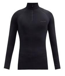 Zipped long-sleeved jersey top
