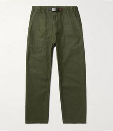 Tapered Cropped Belted Cotton-Crepe Trousers