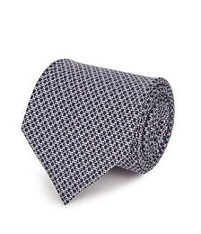 Gancini logo-print silk tie