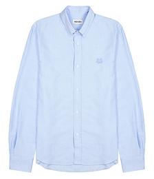 Light blue tiger-embroidered cotton shirt
