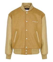 Camel panelled wool-blend bomber jacket