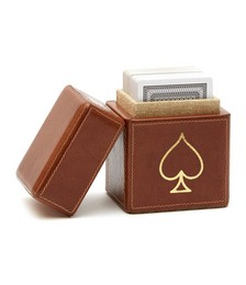 Aira Leather Playing Card Box Set - Tobacco