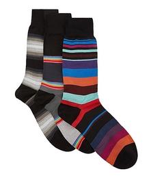 Striped cotton-blend socks - set of three