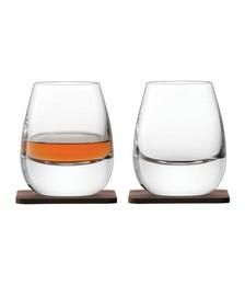Whisky Islay Tumbler & Walnut Coaster - Set of 2