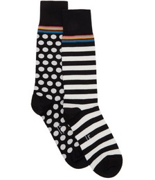 Two-Pack Black & White Graphic Socks