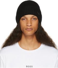 Black Wool Ribbed Beanie