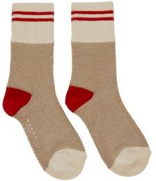 Beige & Red Striped Socks