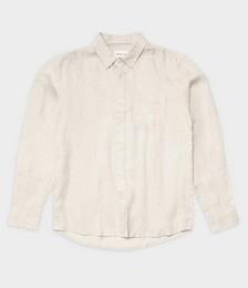 Nero Linen Long Sleeve Shirt in White