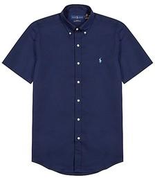 Navy slim cotton-poplin shirt