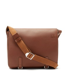 Military leather messenger bag