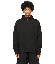 Black Mock Neck Half Zip Sweat Shirt