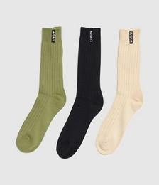Pier Organic Socks 3 Pack Green/Black/Cream