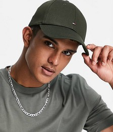 Tommy Hilfiger cap with small flag logo in olive green