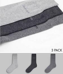 Calvin Klein Eric 3-pack logo socks in greys