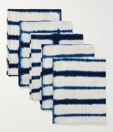 Set of Six Indigo-Dyed Organic Cotton Napkins