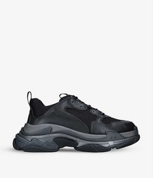 Men's Triple S leather and mesh mid-top trainers