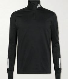 The Run Logo-Print Recycled AEROREADY Half-Zip Sweater