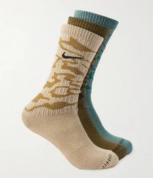 Three-Pack Everyday Plus Ribbed Dri-FIT Cotton-Blend Socks