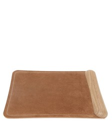 Suede and walnut mouse pad
