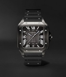 Santos de Cartier Automatic 39.8mm Steel and Alligator Leather Watch, Ref. No. WSSA0039