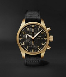 10 Years of MR PORTER Limited Edition Pilot Automatic Chronograph 41.1mm Bronze and Faux Suede Watch, Ref. No. IW387907