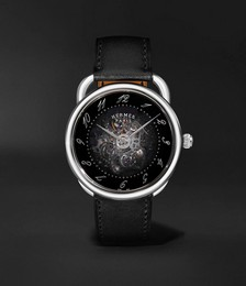Arceau Squelette Automatic 40mm Stainless Steel and Leather Watch, Ref. No. W055631WW00