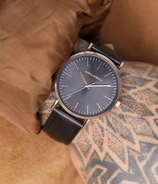 ASOS Design Classic watch with rose gold detail and grey face in black