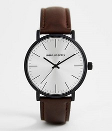 ASOS Design Classic watch with matte black case in brown