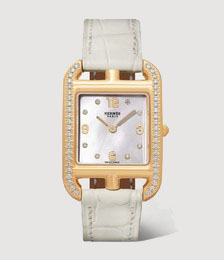 Cape Cod 23mm small 18-karat gold, alligator, mother-of-pearl and diamond watch