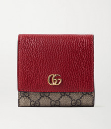 GG Marmont Petite medium textured-leather and printed coated-canvas wallet