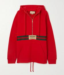 + NET SUSTAIN appliquéd webbing-trimmed organic cotton-jersey hoodie