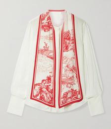 Printed tie-neck silk crepe de chine blouse
