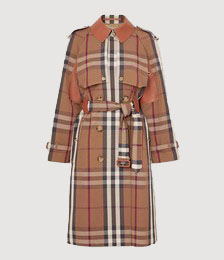 Double-breasted checked gabardine and leather trench coat
