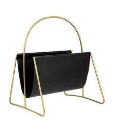 Leather Magazine Basket - Gold/Black