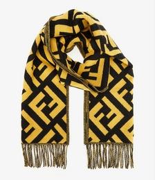 Brand-pattern fringed cashmere scarf