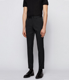 Slim-fit trousers in stretch fabric containing silk