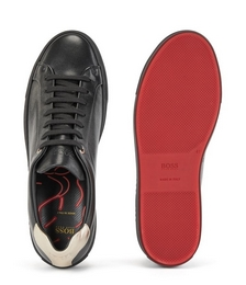 Nappa-leather trainers with red and gold accents