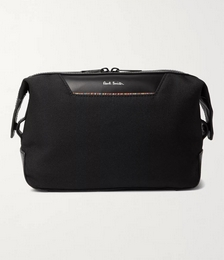 Embroidered Leather-Trimmed Nylon Wash Bag