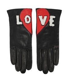 Love appliquéd leather gloves