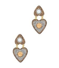 18kt gold-plated heart drop earrings