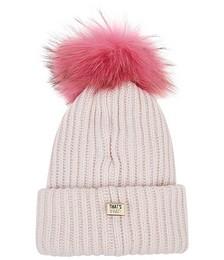 Pale pink fur pompom wool-blend beanie