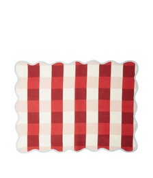 Set of four scalloped-edge gingham linen placemats