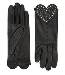 Venera heart-appliquéd leather gloves