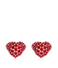 Heart crystal-embellished clip earrings