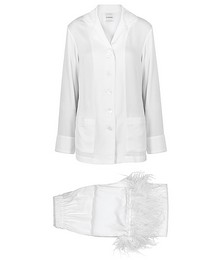 Party white feather-trimmed pyjamas
