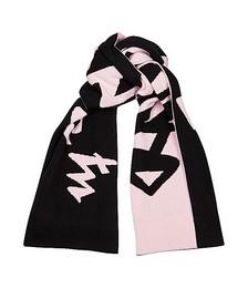 Black and pink logo-intarsia wool scarf