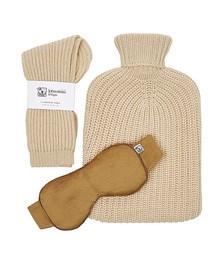 Cashmere socks, hot water bottle and eye mask gift set