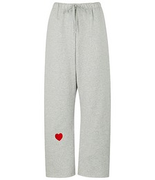 Heart-embroidered cotton-blend sweatpants